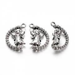 Кулон Ангел, Металл, Цвет: Античное Серебро, Размер: 25x17x4мм, Отверстие 2.5мм, 5 шт