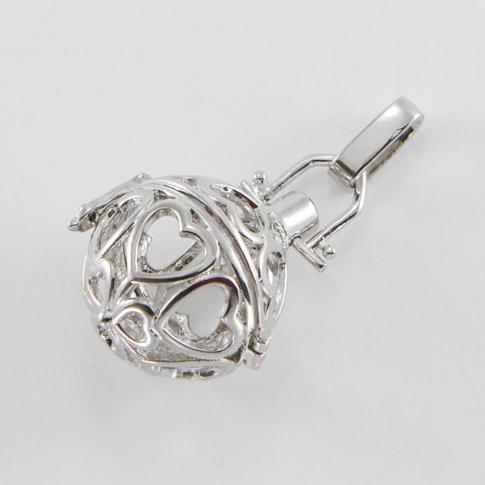 Кулон-Коробочка Сердце, Латунь, Цвет: Платина, Размер: 24х20х18мм, Отверстие 9мм/ Упак.: 1 шт