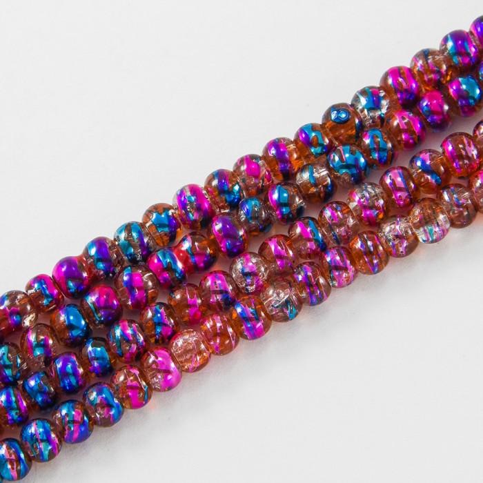 Бусины Стеклянные Волочильные, Круглые, Цвет: Сиренево-фиолетовый CD 38, Размер: 4мм, Отверстие 1.5мм, около 200шт/80см/нить