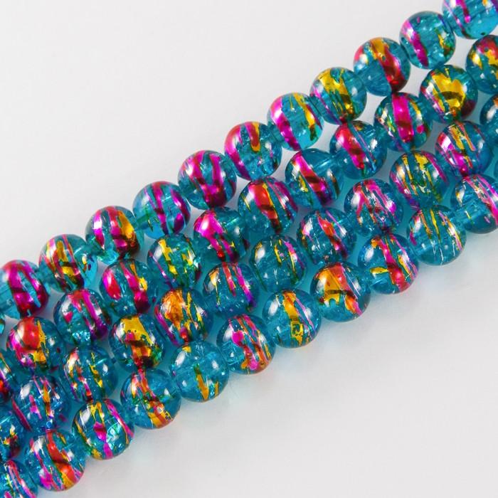 Бусины Стеклянные Волочильные, Круглые, Цвет: Сине-розовый CD26, Размер: 6мм, Отверстие 1.5мм, около 135шт/81см/нить
