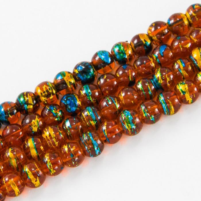 Бусины Стеклянные Волочильные, Круглые, Цвет: Оранжево-коричневый CD76, Размер: 6мм, Отверстие 1.5мм, около 135шт/81см/нить