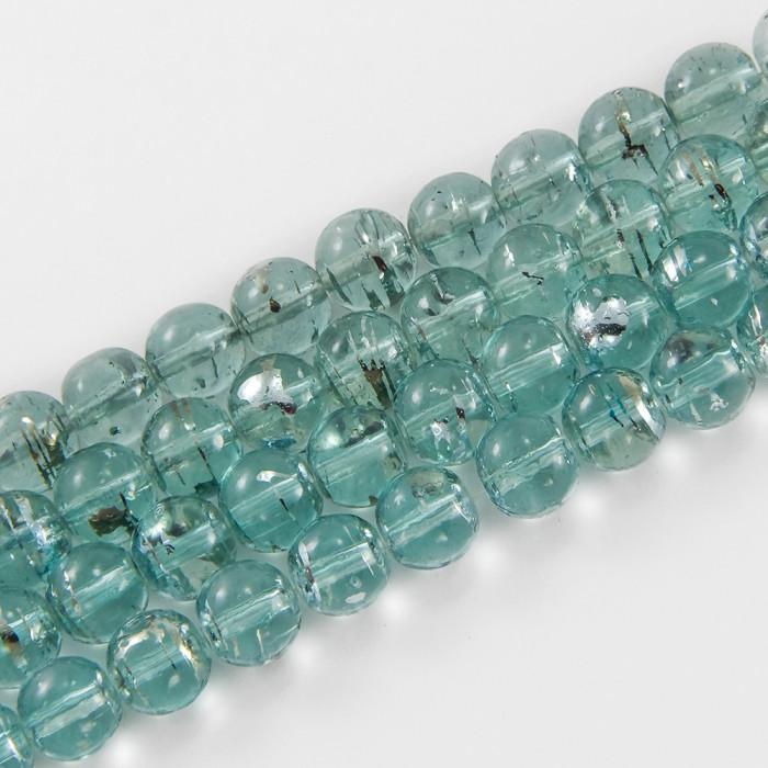 Бусины Стеклянные Волочильные, Круглые, Цвет: Синий Y22, Размер: 4мм, Отверстие 1мм, около 200шт/80см/нить