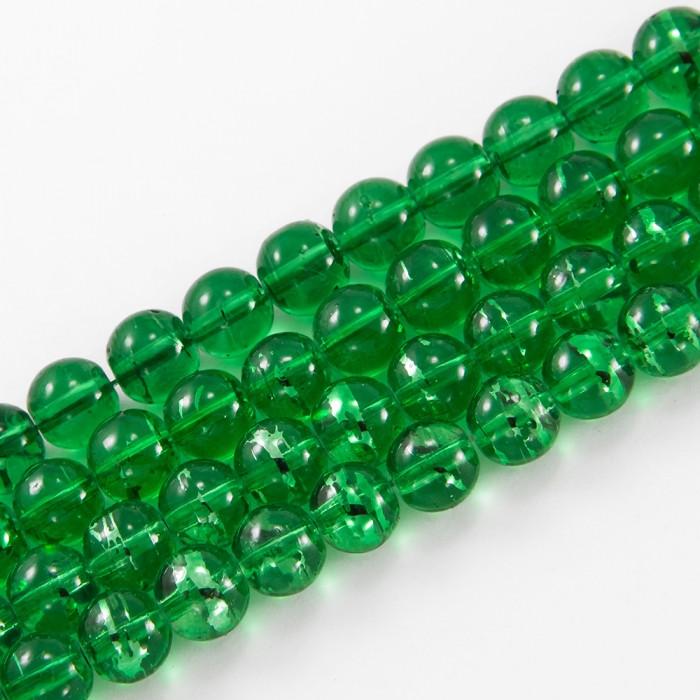 Бусины Стеклянные Волочильные, Круглые, Цвет: Темно-зеленый Y25, Размер: 4мм, Отверстие 1мм, около 200шт/80см/нить