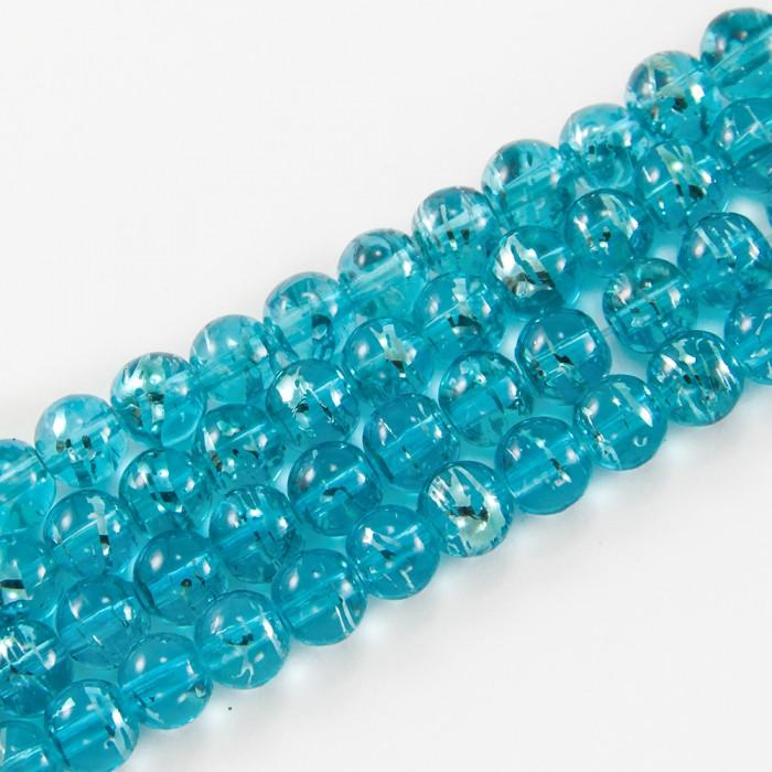 Бусины Стеклянные Волочильные, Круглые, Цвет: Голубой Y9, Размер: 4мм, Отверстие 1мм, около 200шт/80см/нить
