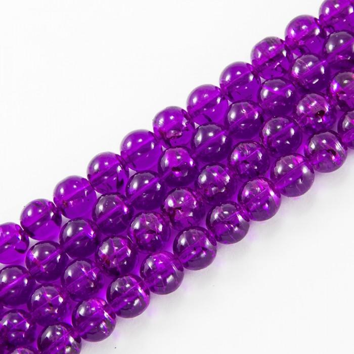Бусины Стеклянные Волочильные, Круглые, Цвет: Фиолетовый Y28, Размер: 6мм, Отверстие 1.5мм, около 135шт/81см/нить