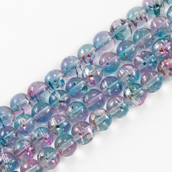 Бусины Стеклянные Волочильные, Круглые, Цвет: Розово-голубой Y17, Размер: 6мм, Отверстие 1.5мм, около 135шт/81см/нить