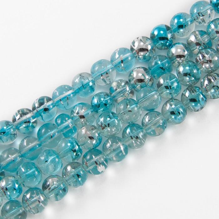 Бусины Стеклянные Волочильные, Круглые, Цвет: Бледно-голубой Y14, Размер: 6мм, Отверстие 1.5мм, около 135шт/81см/нить