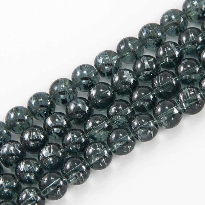 Бусины Стеклянные Волочильные, Круглые, Цвет: Темно-серый Y12, Размер: 8мм, Отверстие 1.5мм, около 100шт/80см/нить