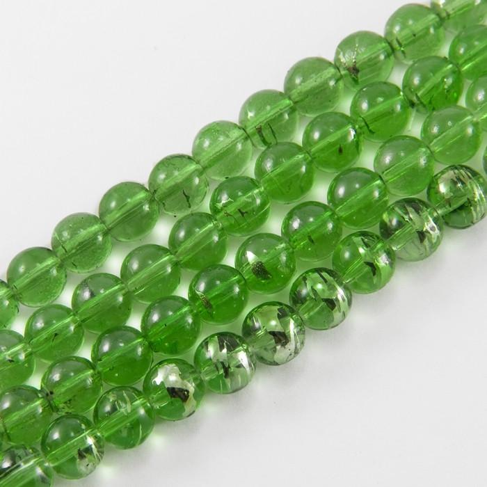 Бусины Стеклянные Волочильные, Круглые, Цвет: Зеленый Y20, Размер: 8мм, Отверстие 1.5мм, около 100шт/80см/нить