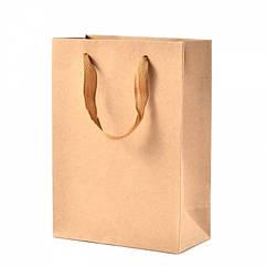 Пакет из Крафтовой Бумаги, с Нейлоновой Ручкой, Цвет: Бежевый, Размеры: 28x20x10см/ Упак.: 5 шт