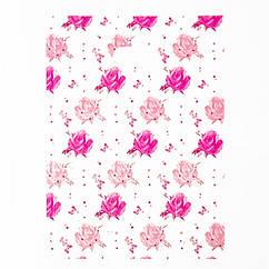Полиэтиленовый Пакет с Рисунком Розы, Цвет: Розовый, Размер: 34х25см, (УТ100011944)