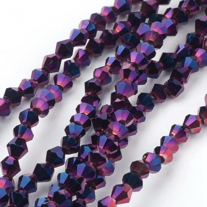 Бусины Гальваника Стекло, Граненые, Биконус, Цвет: Пурпурный, Размер: 3х3мм, Отв-тие: 1мм, около 131шт/40см/нить