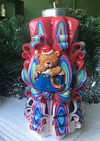 Свічка новорічна, ручної роботи, красиво горить і прикрашає інтер'єр