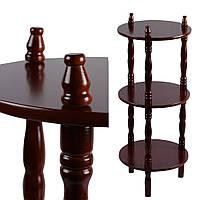 Стелаж круглий 3 полиці дерев'яний 70х29х29 см коричневий (42704.001)