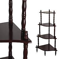 Стелаж кутовий 4 полиці дерев'яний 107х57х39 см коричневий темний (42706.001)