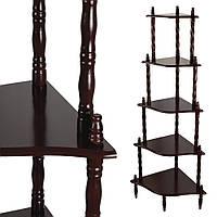 Стелаж кутовий 5 полиць дерев'яний 136х57х39 см коричневий темний (42707.001)