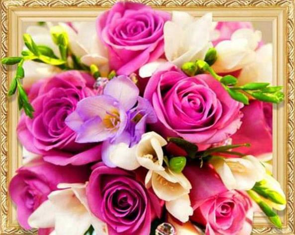 "ELT0473 Алмазная мозаика по номерам 40*50 объемная ""Розы"" карт уп. (холст на раме камни), фото 2"