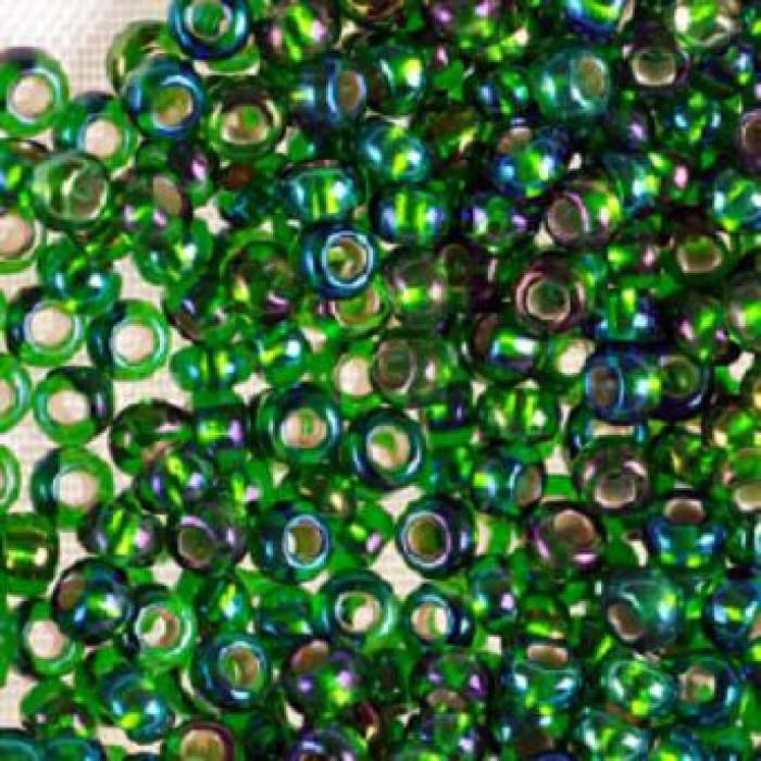 Бисер 57129 Чешский Preciosa 10/0, Прозрачный радужный TR, Цвет: Зеленый, Круглый/ Упак.: 50 г