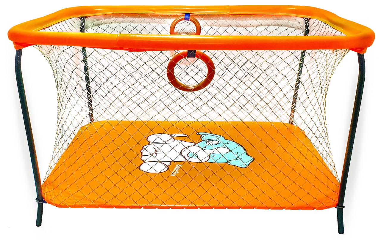 Манеж детский игровой KinderBox люкс Оранжевый собачка с крупной сеткой (R 514)