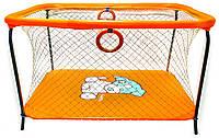 Манеж детский игровой KinderBox люкс Оранжевый собачка с крупной сеткой (R 514), фото 1