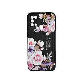 Чехол для Samsung Galaxy M31 M315 силиконовый с ремешком подставкой, Flower, Черный