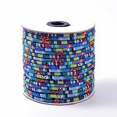 Шнур Текстильный, Этнический Стиль, Цвет: Голубой, Размер: 4мм/ Упак.: 1 м