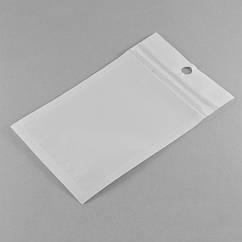 ЗИП Пакет Белый/Прозрачный, с подвесом, замок ZIP Lock, Размер: 13х8см, Внутренний размер: 9.5x7см/ Упак.: 25 шт