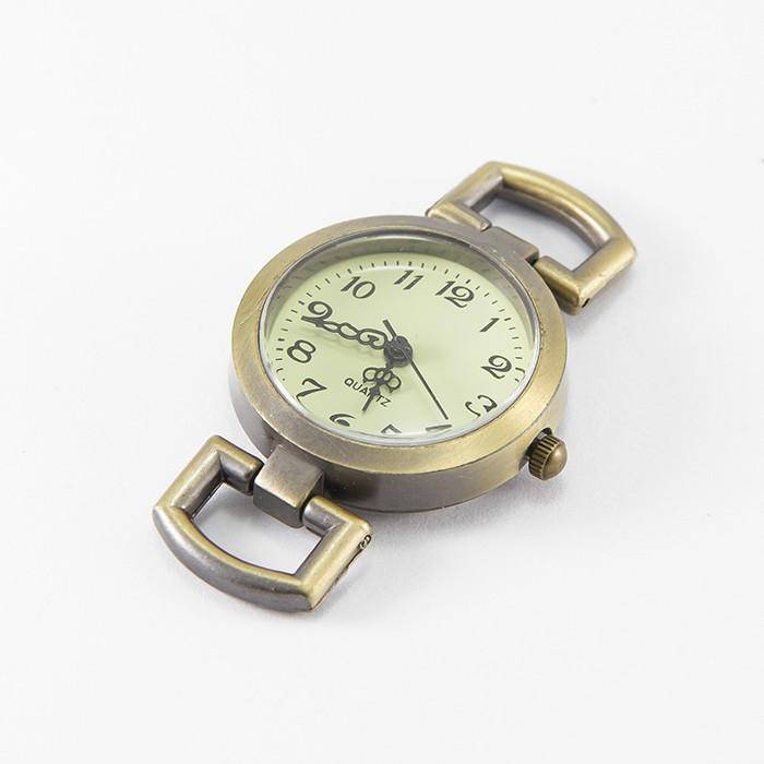 Основа для Часов из Сплава, Круглая, Плоская, Цвет: Бронза, Размер: 29x26.5x9мм, Отверстие 10x5мм/ Упак.: 1 шт