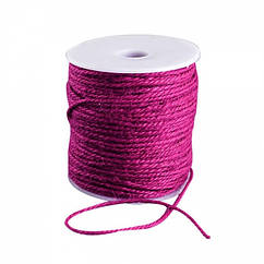 Мотузка декоративна, Колір: Бордовий, Розмір: Товщина 2мм/ Упак.: 10 м