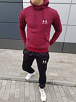 Мужской бордовый зимний спортивный костюм, костюм с капюшоном на флисе в стиле Under Armour, фото 1