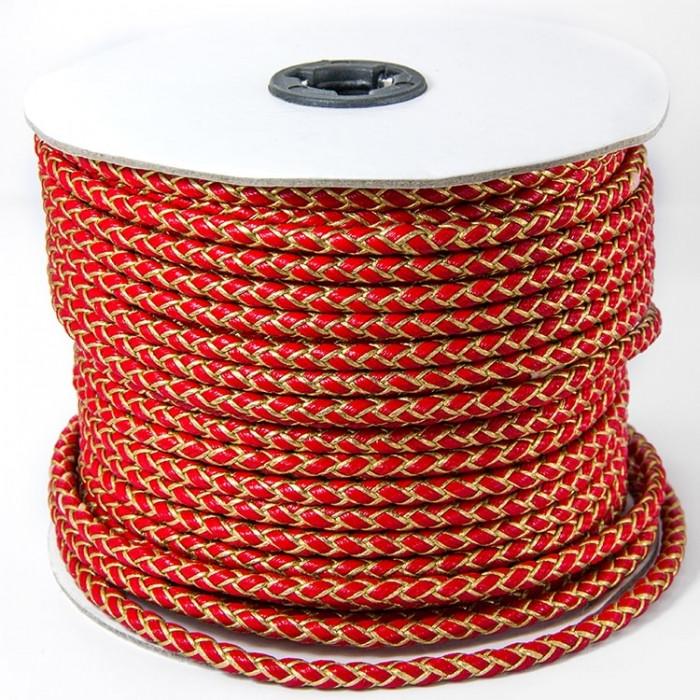 Шнур Искусственная Кожа, Плетеный, Цвет: Красный, Размер: Диаметр 5мм/ Упак.: 1 м