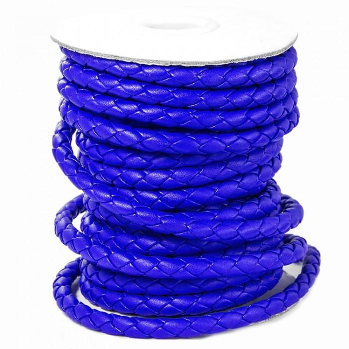 Шнур Искусственная Кожа, Плетеный, Цвет: Синий, Размер: Диаметр 6мм/ Упак.: 1 м