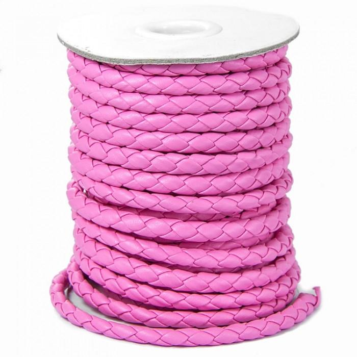 Шнур Искусственная Кожа, Плетеный, Цвет: Розовый, Размер: Диаметр 6мм/ Упак.: 1 м