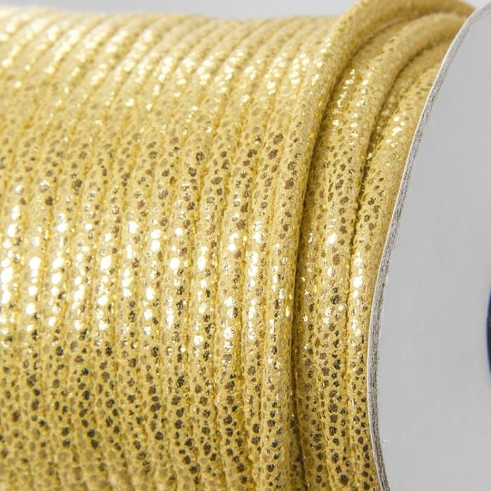 Шнур Искусственная Кожа, Цвет: Золотистый, Размер: Диаметр 5мм/ Упак.: 1 м