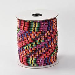 Шнур Текстильный, Этнический Стиль, Цвет: Малиновый, Размер: 4мм/ Упак.: 1 м
