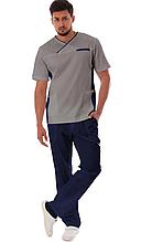 Классический мужской медицинский хирургический костюм синий с серым 46-58