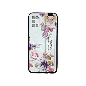 Чехол для Samsung Galaxy M31 M315 силиконовый с ремешком подставкой, Flower, Белый