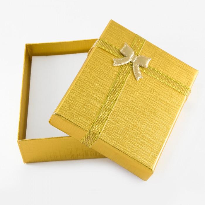 Подарочная Коробочка для Украшений, с Бантом, Цвет: Золото, Размер: 9х7х3см/ Упак.: 1 шт
