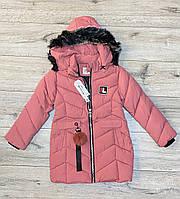 Утепленное пальто на синтепоне со съемным капюшоном. 110 рост.