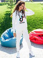"""Спортивный молодежный костюм: худи с принтом """"TikTok"""" + брюки с лампасами молочный S, M, L"""