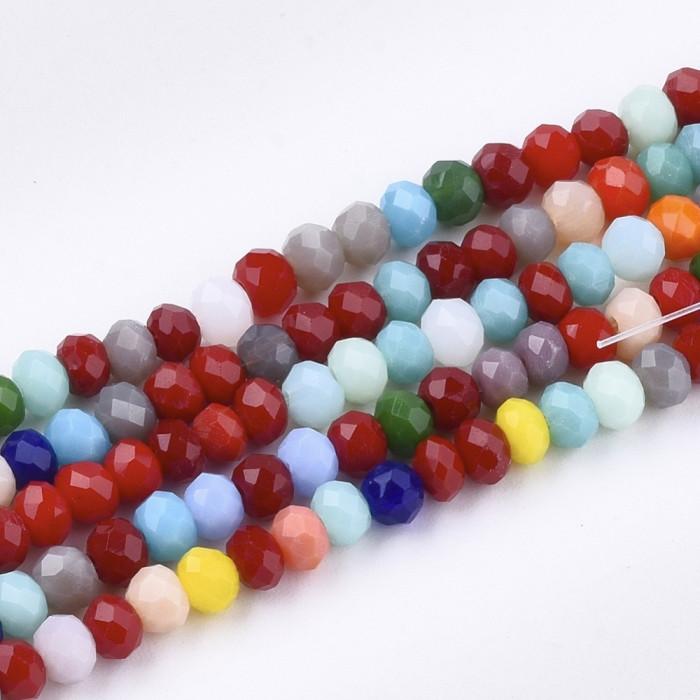 Бусины Стеклянные, Рондель, Граненые, Цвет: Микс, Размер: 4х3мм, Отверстие 1мм, около 142-145шт/48см/нить