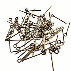 Пины с Колечком, Железные, Цвет: Бронза, Размер: 18х0,7мм, Отверстие: 2мм, 50г/около 600шт, (УТ100020508)