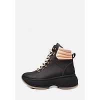Чорні спортивні шкіряні черевики на платформі