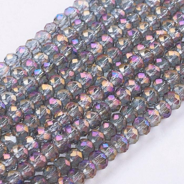 Бусины Гальваника Стекло, Граненые, Рондель, Цвет: Фиолетовый, Размер: 3х2мм, Отверстие: 1мм, около 100шт/25см/нить