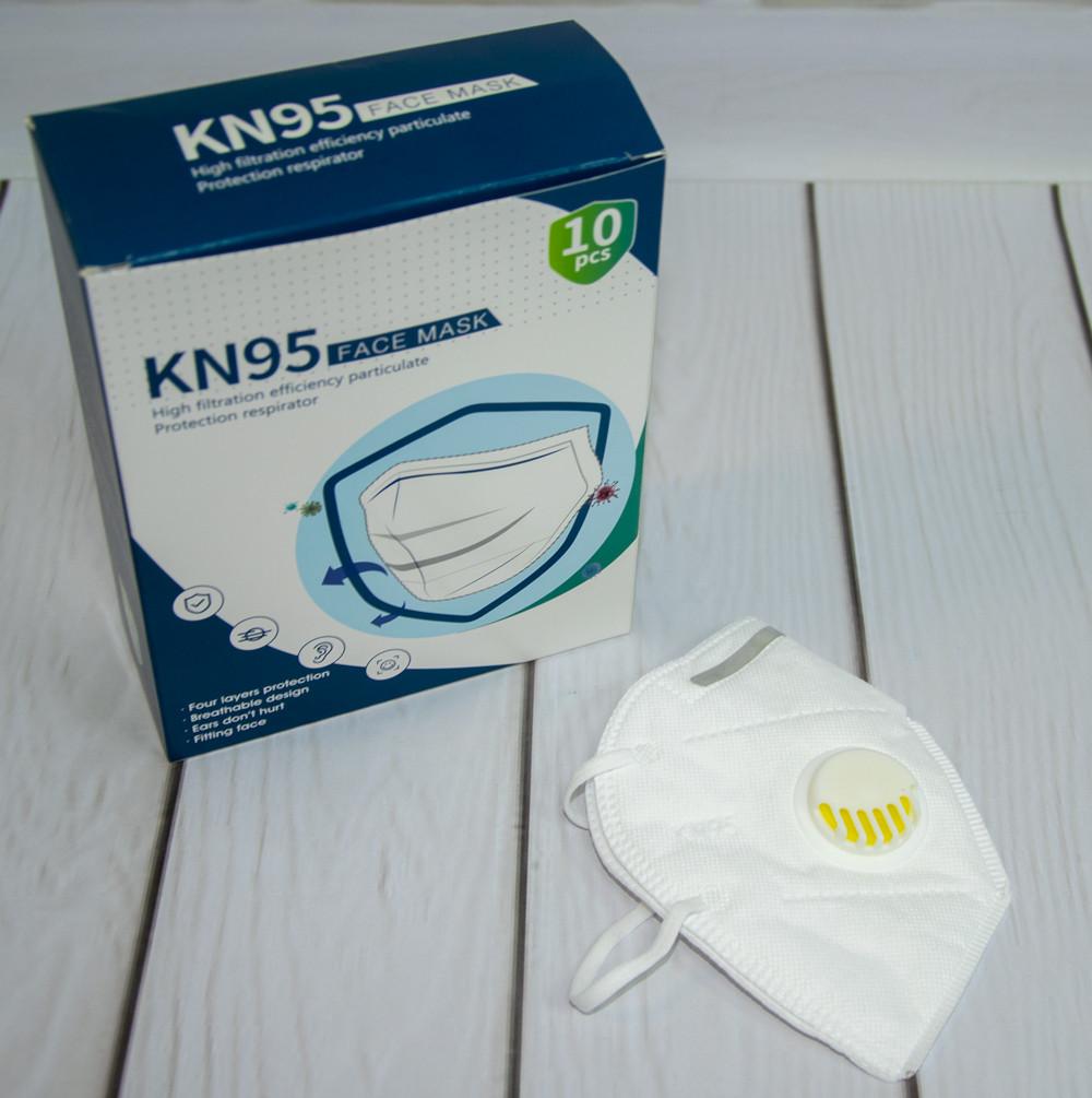 Защитные маски с угольным фильтром (10 шт./уп.) KN95 защитный респиратор с клапаном (NS)