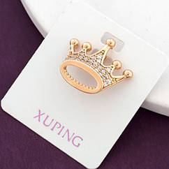 Кулон Корона Xuping, Эко Латунь + Фианиты, Покрытие Золото 18К, Гипоаллергенный, Размер: 26х18мм,