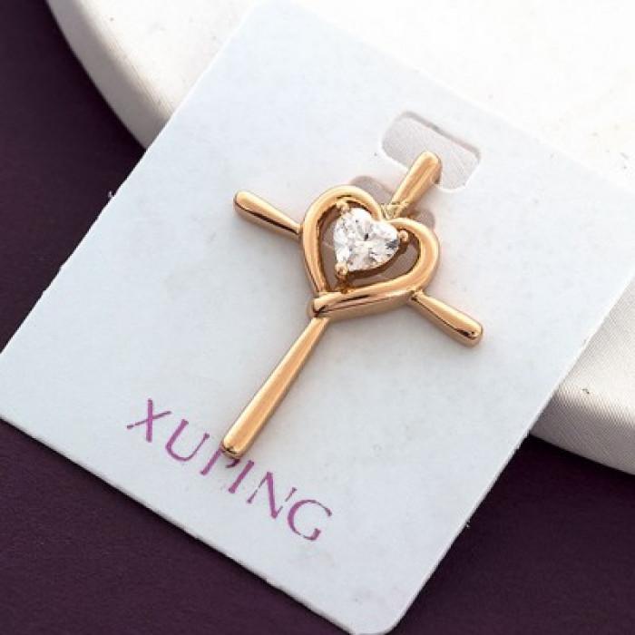 Кулон Крест Xuping, Эко Латунь + Фианиты, Покрытие Золото 18К, Гипоаллергенный, Размер: 23х18мм/ Упак.: 1 шт