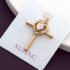 Кулон Крест Xuping, Эко Латунь + Фианиты, Покрытие Золото 18К, Гипоаллергенный, Размер: 23х18мм, 1 шт