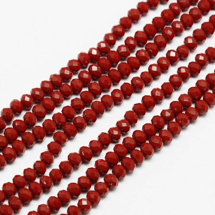 Бусины Стекло Хрусталь, Рондель, Граненые, Цвет: Темно-красный, Размер: 4х3мм, Отверстие 1мм, около 135шт/41см/нить