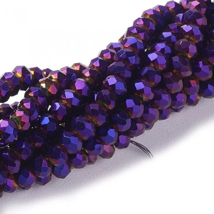 Бусины Гальваника Стекло, Граненые, Рондель, Цвет: Фиолетовый, Размер: 8x6-7мм, Отверстие: 1мм, около 72шт/49см/нить